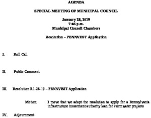 Icon of Special Meeting 1-28-19 PENNVEST Application