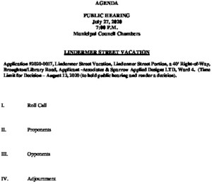 Icon of Public Hearing 7-27-20 Lindermer Street Vacation