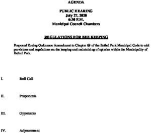 Public Hearing 7-27-20 Bee Ordinance
