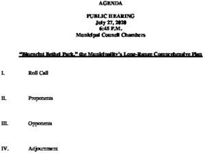 Public Hearing 7-27-20 Long Range Plan