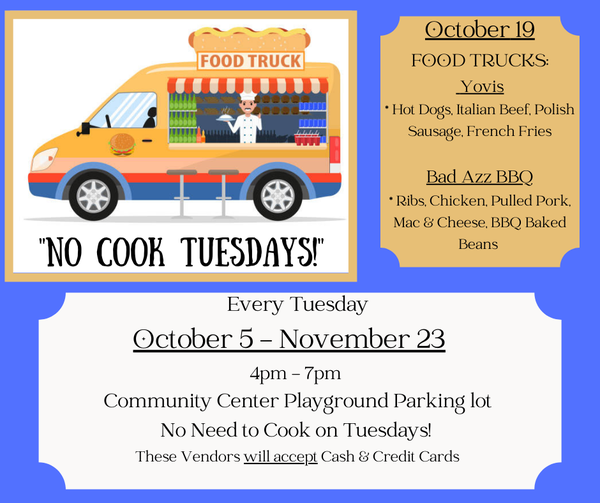 No-Cook Tuesday! @ Bethel Park Community Center Playground Parking Lot   Fairfield   Connecticut   United States