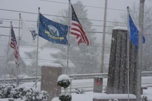 Veterans Memorial snow